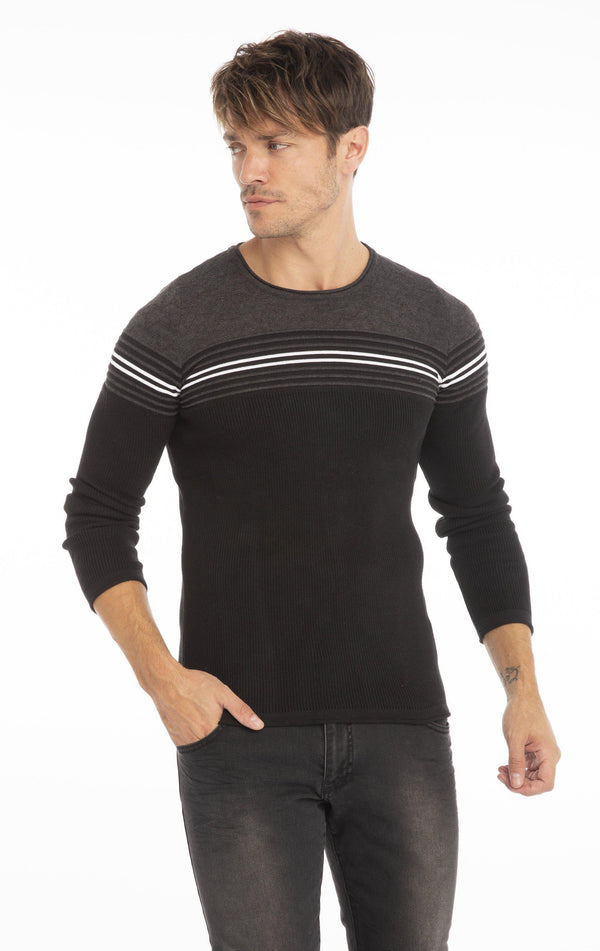 Rt Stripes And Stars Knit Sweater - Black Antrasit - Ron Tomson