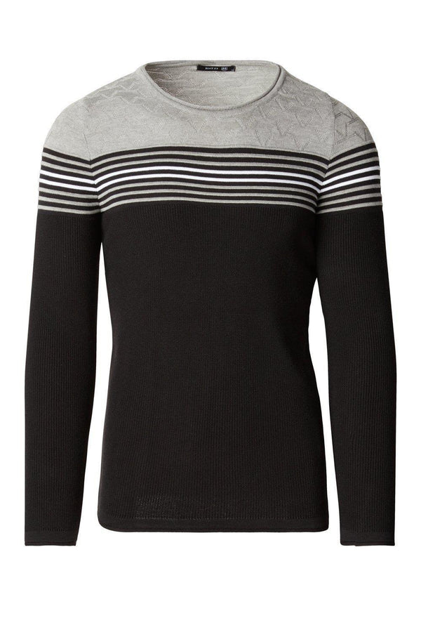 Rt Stripes And Stars Knit Sweater - Black Grey