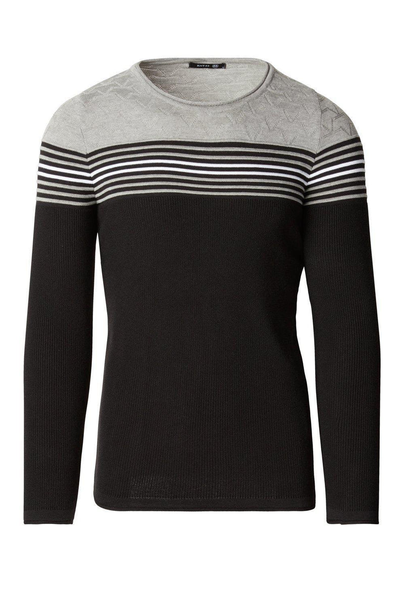 Rt Stripes And Stars Knit Sweater - Black Grey - Ron Tomson