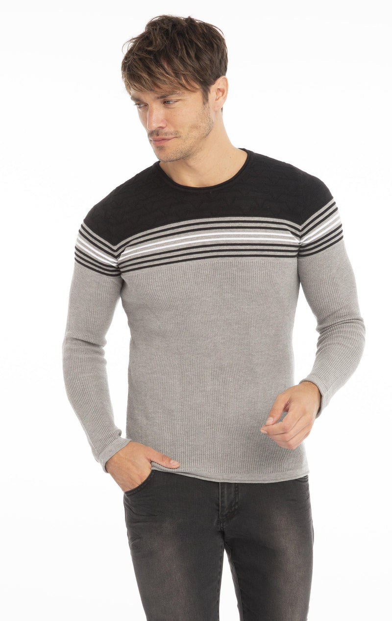 Rt Stripes And Stars Knit Sweater - Grey Black - Ron Tomson