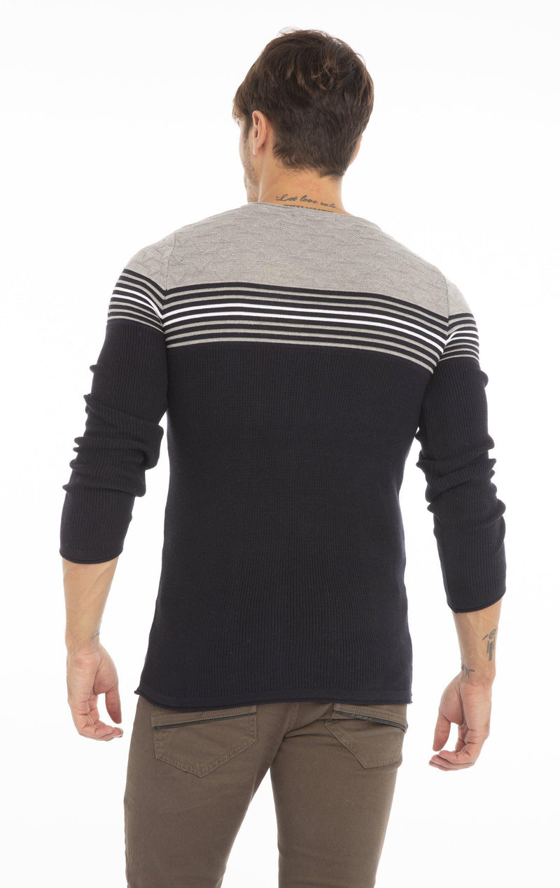 Rt Stripes And Stars Knit Sweater - Navy Grey - Ron Tomson