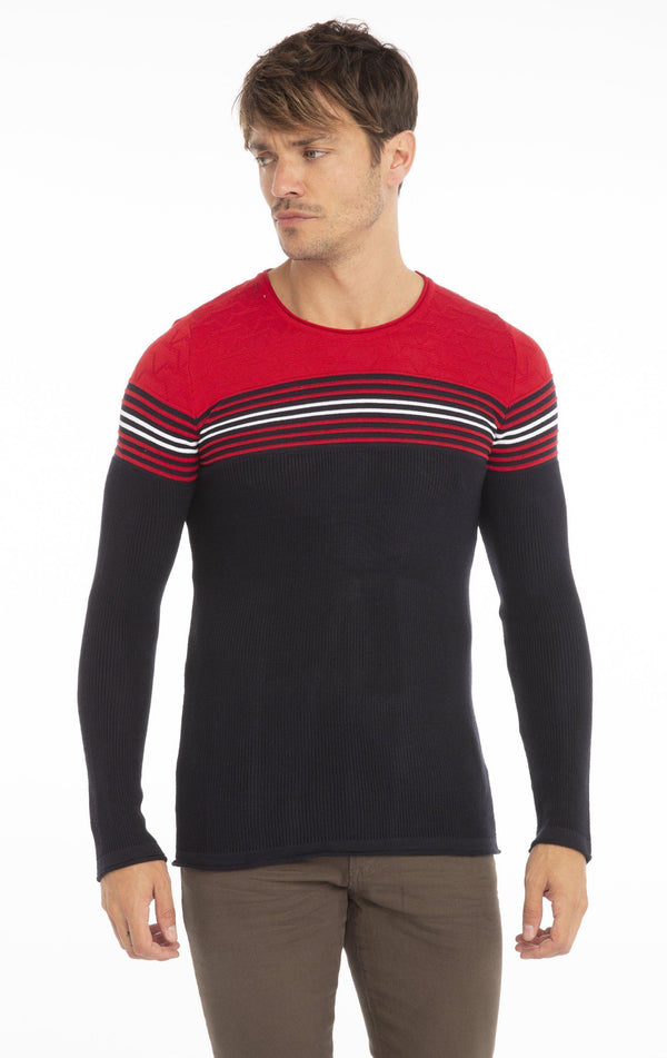 Rt Stripes And Stars Knit Sweater - Navy Red