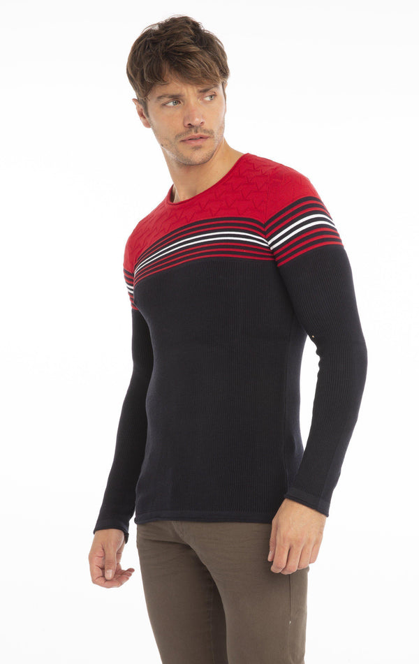 Rt Stripes And Stars Knit Sweater - Navy Red - Ron Tomson