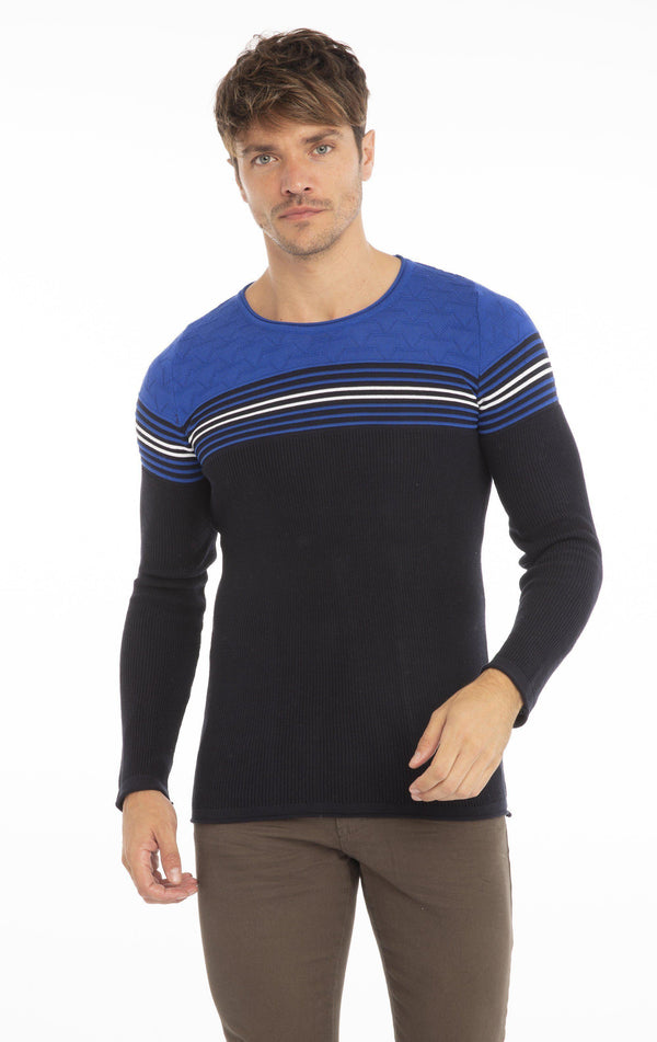Rt Stripes And Stars Knit Sweater - Navy Sax