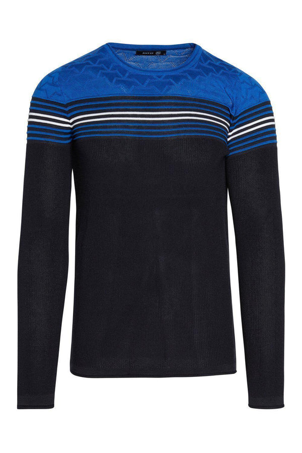 Rt Stripes And Stars Knit Sweater - Navy Sax - Ron Tomson