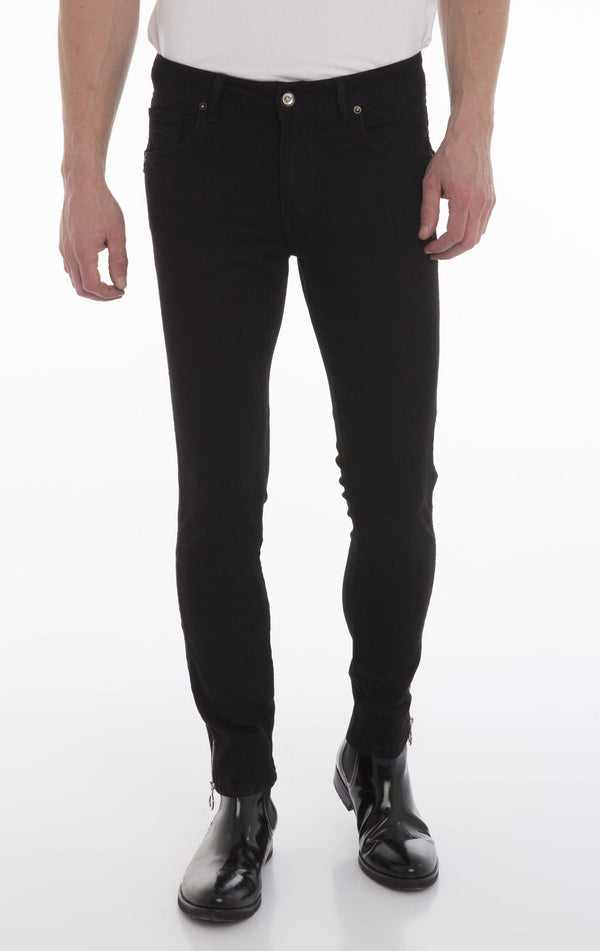 Rt Zip Track Slim Fit Jeans - Black
