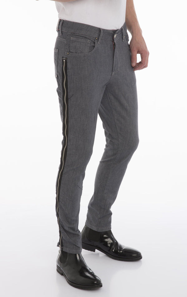 Rt Zip Track Slim Fit Jeans - Grey