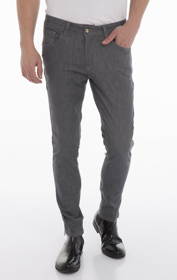 Rt Zip Track Slim Fit Jeans - Grey - Ron Tomson