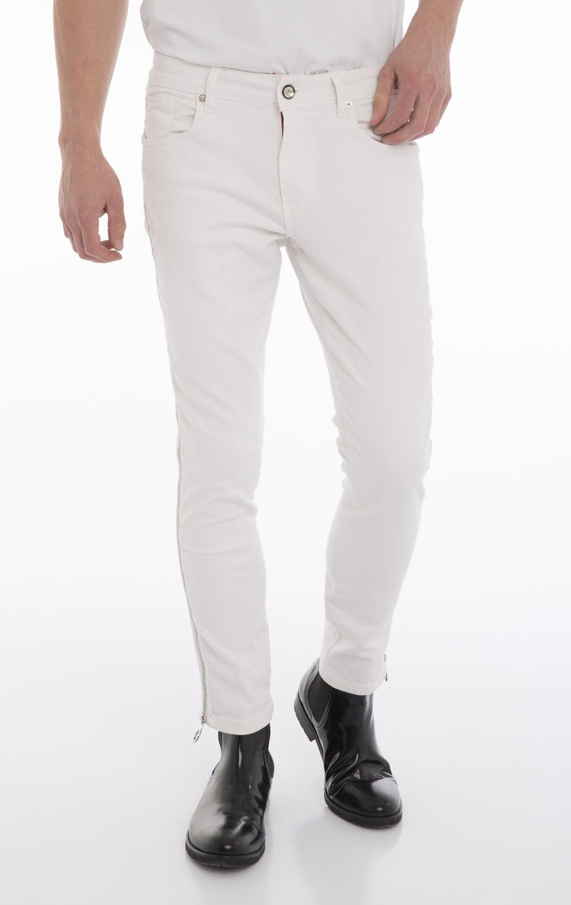 Rt Zip Track Slim Fit Jeans - White - Ron Tomson