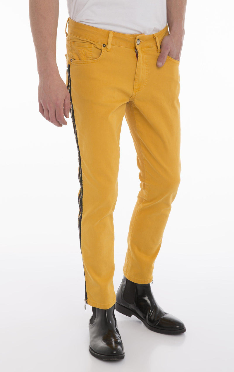 Rt Zip Track Slim Fit Jeans - Yellow