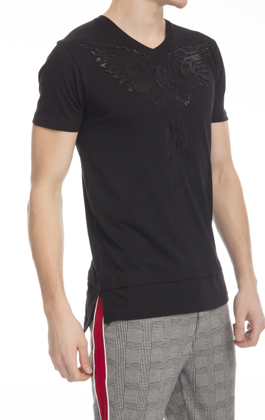Fly Solo Fitted Cotton Long T-shirt-T-shirts-Ron Tomson-BLACK-M-Ron Tomson
