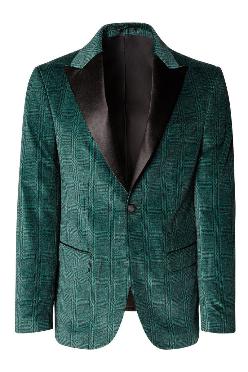 Satin Peak Lapel Velvet Tuxedo - Green - Ron Tomson