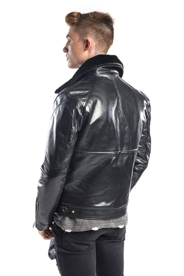 SHEARLING AVIATOR LEATHER JACKET - Ron Tomson