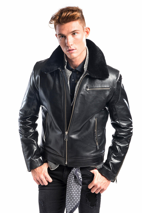 SHEARLING AVIATOR LEATHER JACKET