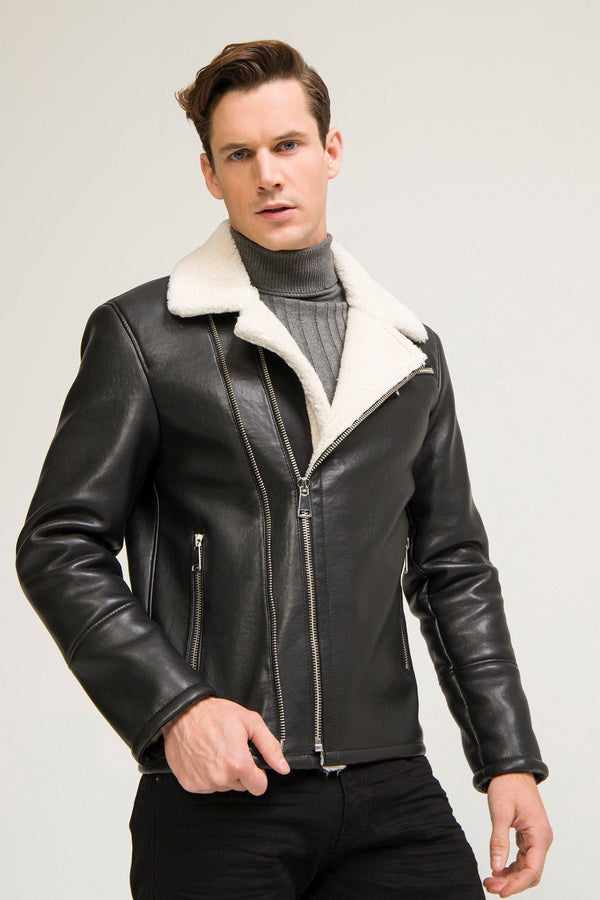 Shearling Lined Faux Leather Jacket - Black