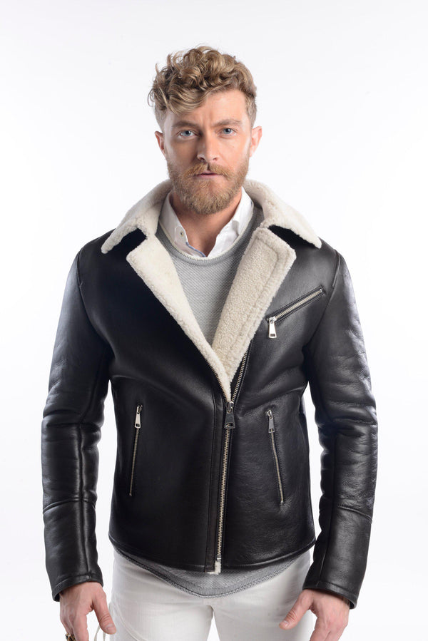 Shearling Leather Asymmetrical Bomber Jacket-Jackets-Ron Tomson-BLACK-S-Ron Tomson