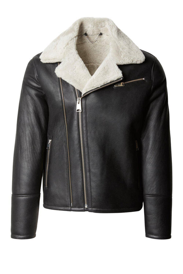 Shearling Lined Leather Jacket - Black