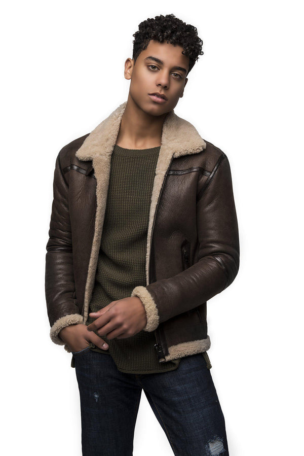 Sueded Shearling Lined Bomber Jacket-Jackets-Ron Tomson-BROWN-S-Ron Tomson