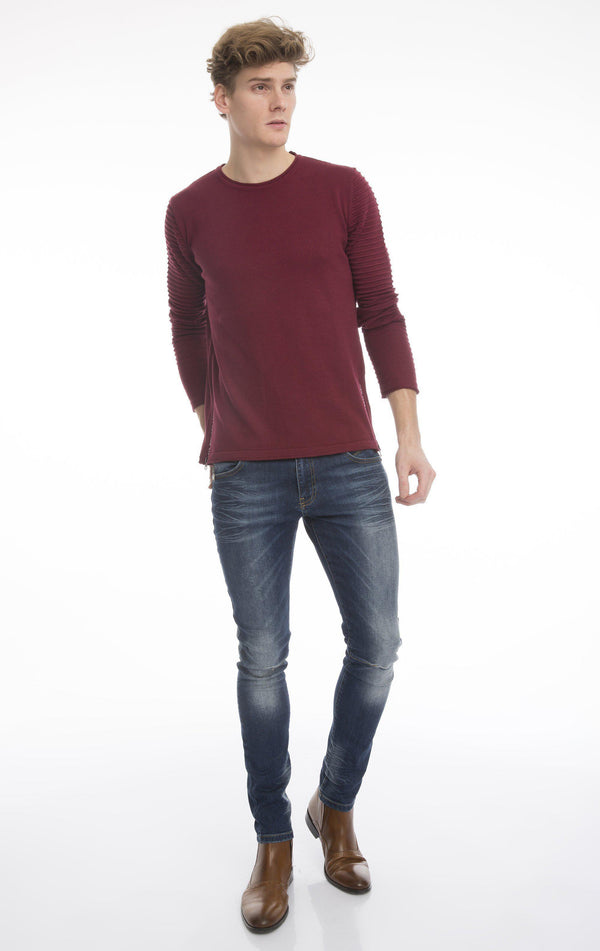 Side Cord Zipper Fitted Sweater - More Colors - Ron Tomson