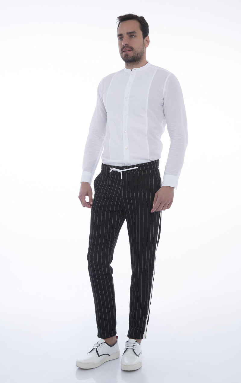 Side Stripe Fitted Track Pants - Black Stripe
