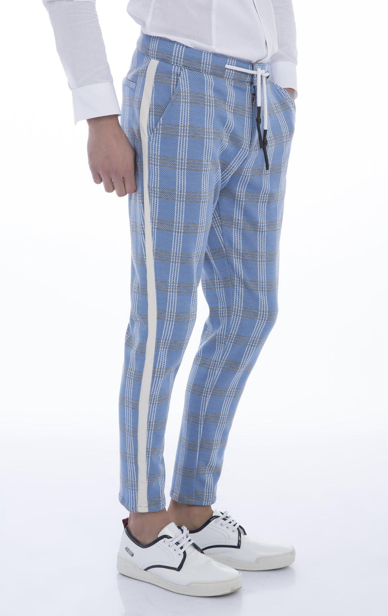 Side Stripe Fitted Track Pants - Blue
