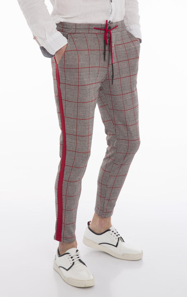 Side Stripe Fitted Track Pants - Grey