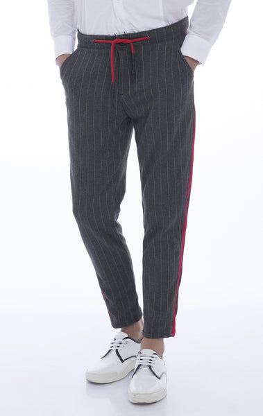 Side Stripe Fitted Track Pants Grey Stripe Ron Tomson