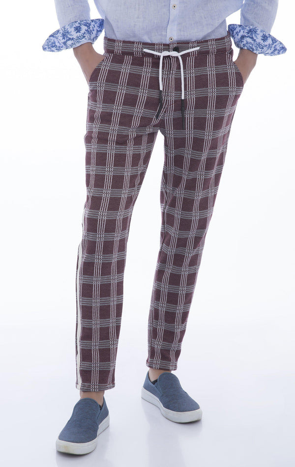 Side Stripe Fitted Track Pants - Wine 1