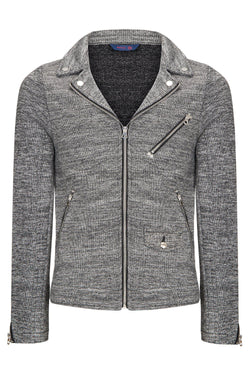 SIGNATURE KNIT MOTO JACKET - ANTHRACITE