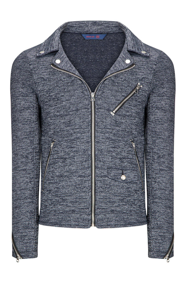 SIGNATURE KNIT MOTO JACKET  - NAVY