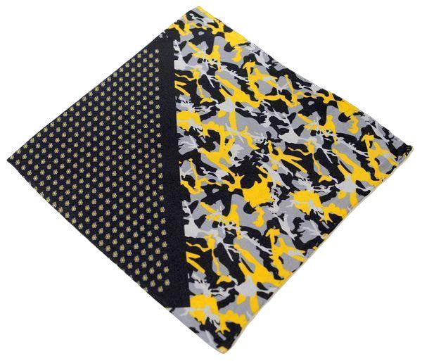 Silk Pocket Square  - Black Yellow - Ron Tomson