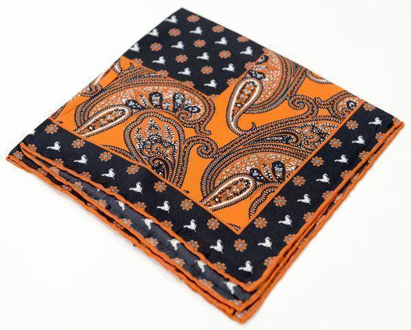 Silk Pocket Square  - Orange - Ron Tomson
