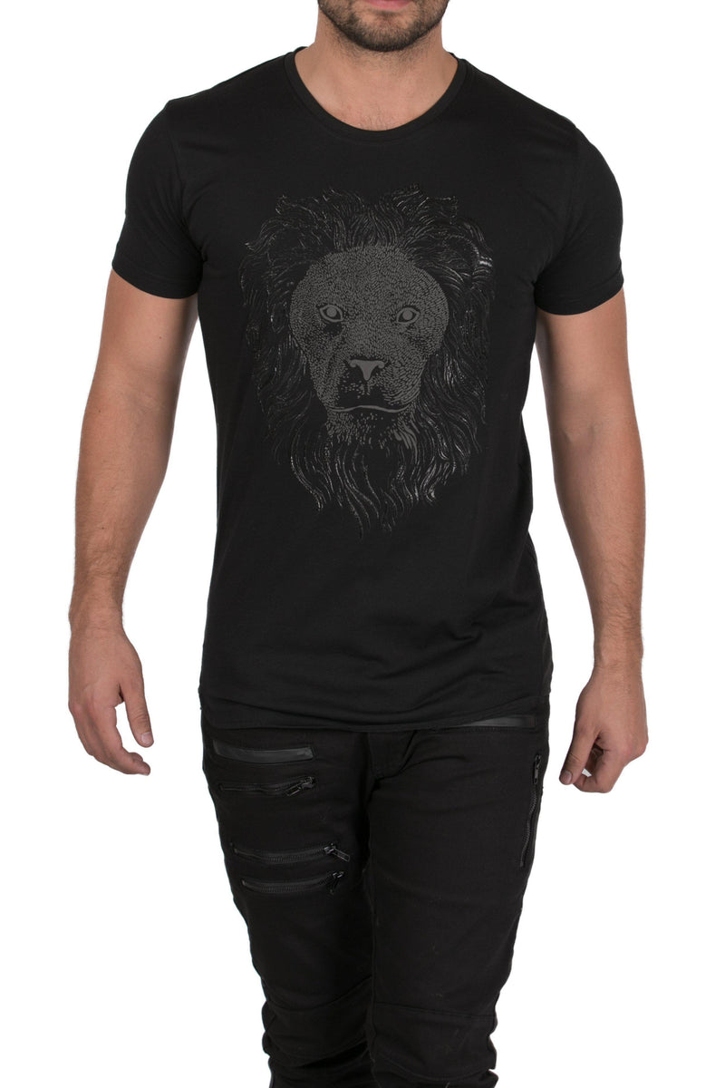 Silver Lion Fitted T-shirt-T-shirts-RON TOMSON-BLACK-S-Ron Tomson