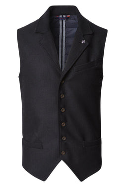 Single Breasted Notch Lapel Vest - Black