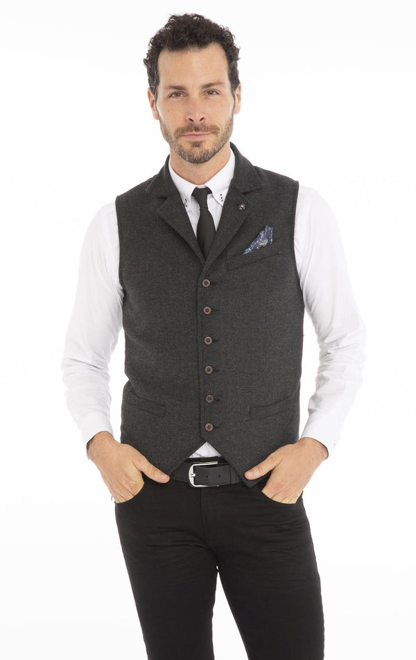 Single Breasted Notch Lapel Vest - Navy - Ron Tomson