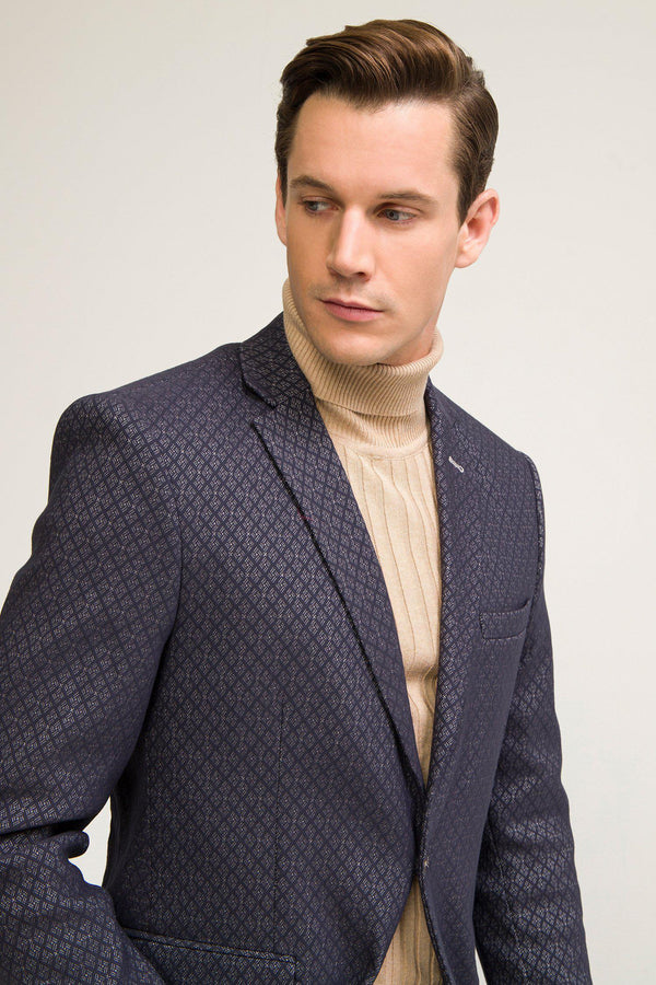 Single Button Classic Ron Tomson Blazer - Black Sax - Ron Tomson