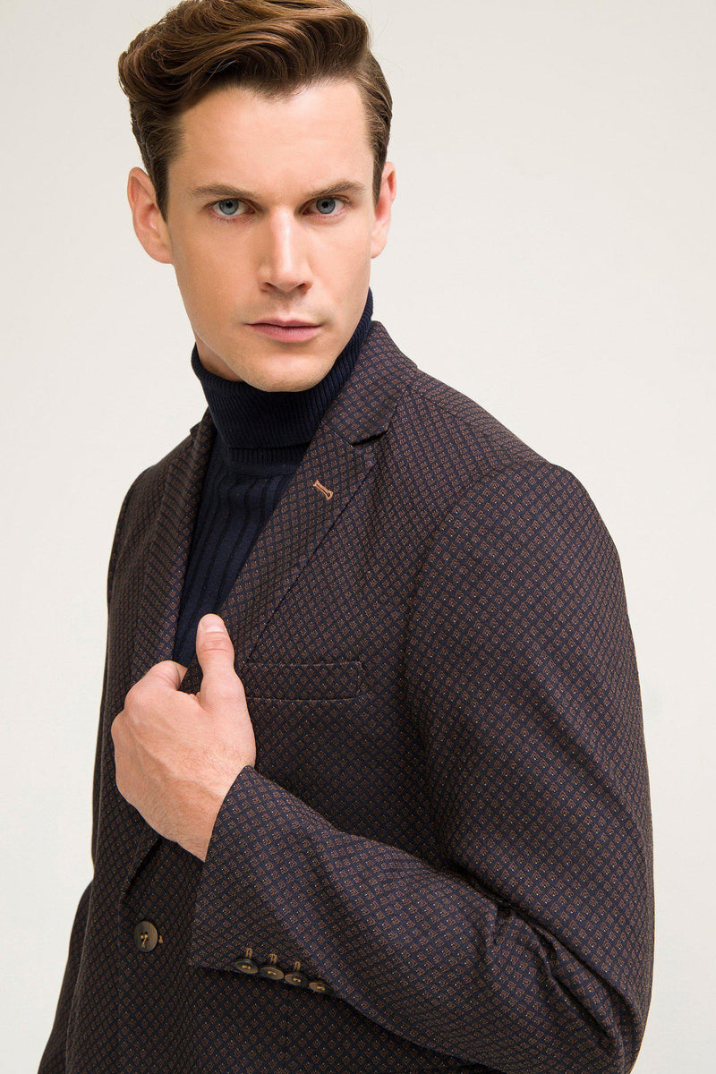 Single Button Classic Ron Tomson Blazer - Brown - Ron Tomson