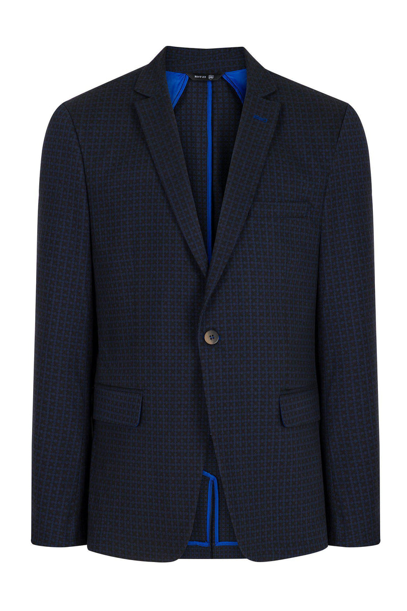 Single Button Classic Ron Tomson Blazer - Navy - Ron Tomson