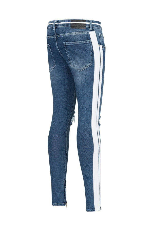 SKINNY FIT DISTRESSED BLUE  TRACK JEANS