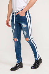 SKINNY FIT DISTRESSED BLUE  TRACK JEANS - Ron Tomson