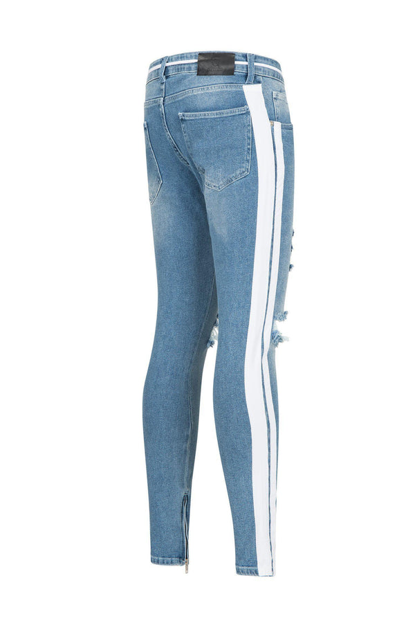 SKINNY FIT DISTRESSED LIGHT BLUE TRACK JEANS