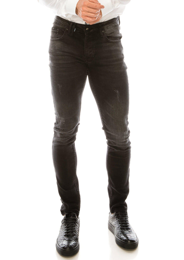 SKINNY LUX 2 STRAP WASH BLACK DENIM - Ron Tomson