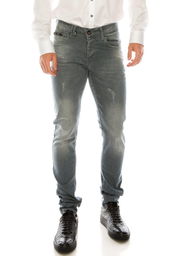SKINNY LUX 2 STRAP WASH GREY DENIM - Ron Tomson
