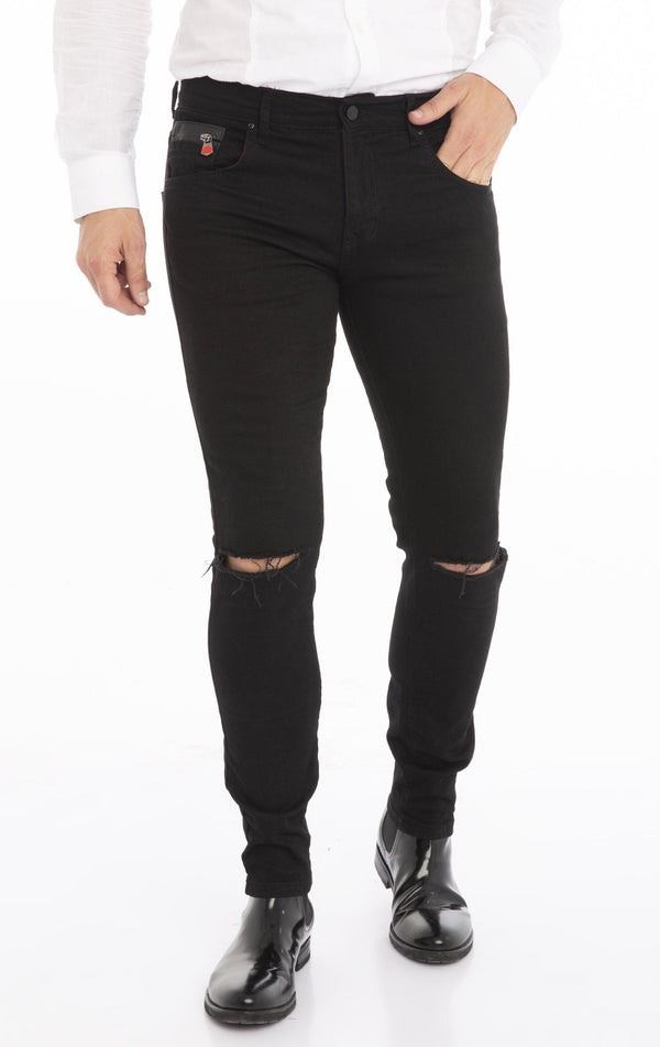 Slashed Knee Slim Fit Stretch Denim - Black - Ron Tomson