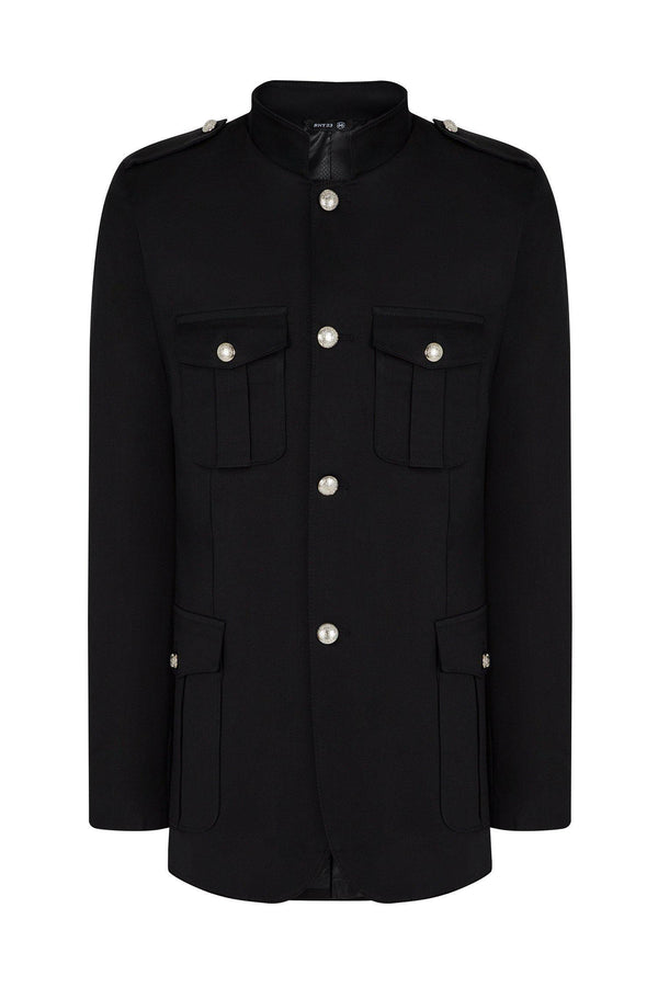 Sleek Officer's Jacket - Black - Ron Tomson
