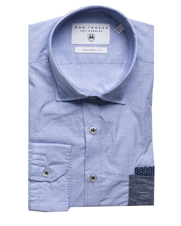Slim Fit Contrast Pocket Shirt - Blue - Ron Tomson