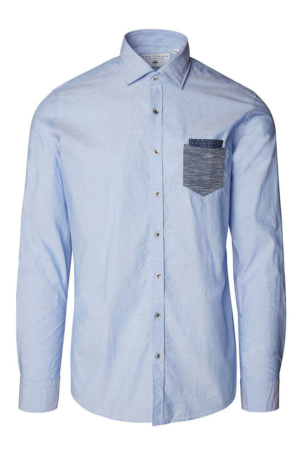 Slim Fit Contrast Pocket Shirt - Blue