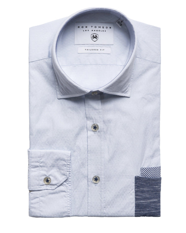 Slim Fit Contrast Pocket Shirt - Light Blue - Ron Tomson