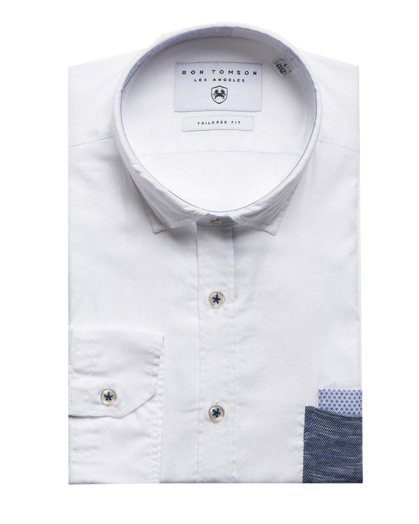 Slim Fit Contrast Pocket Shirt - More Colors-Shirts-Ron Tomson-WHITE-S-Ron Tomson
