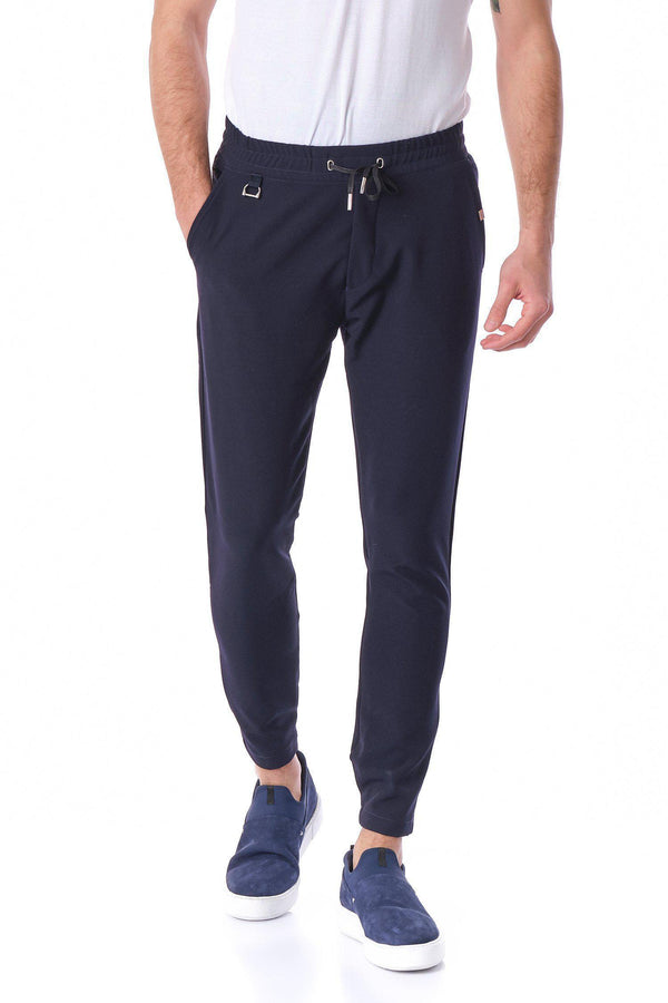 Slim Fit Drawcord Track Pant - NAVY - Ron Tomson